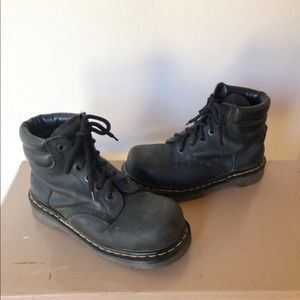 Vintage Dr Martens Black Steel Toe Lace Up Boots